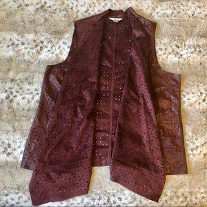 CJ Banks Burgundy Faux Sueded Leather Vest